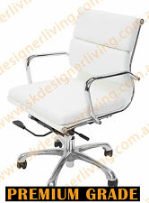 SKDL Replica WHITE Eames Low Back Soft Pad Top Leather Office Chair SK1606