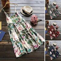 Women Girls Floral Print Summer Party Sleeveless Vest Plus Size Beach Mini Dress