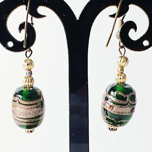 Handmade Earrings Dichroic Art Glass Bead Emerald Green Bronze Glitter Bead Gift