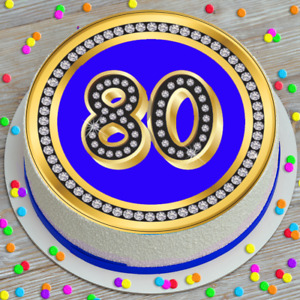 LARGE CAKE TOPPER 7.5 INCH EDIBLE ICING BLUE DIAMONDS 80TH CELEBRATION 146580