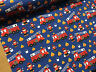 Red Fire Engines Blue Cotton Fabric Curtain Upholstery Quilting Crafts Blinds