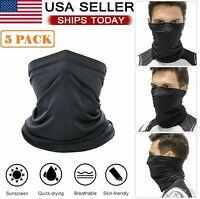 5 PACK Neck Gaiter Bandana Face Cover Mask Headband Balaclava Scarf Windproof US