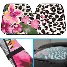 Leopard Flower Pattern Car Sun Shade Windshield- Reflects/Protects UV Ray Heat