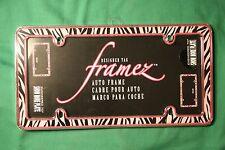 Pink ZEBRA ~ Chromed plastic ~ License Plate Frame Tag Holder