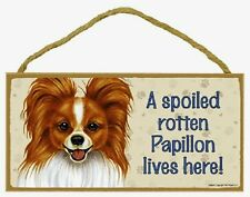 Papillon Wood Dog Sign Wall Plaque 5 x 10 for Dog Lovers Gift House Leash Pic