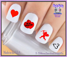 Nail Art V7609 Valentines Red Heart Cupid Love WaterSlide Nail Decals Transfers