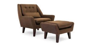 Stuart Chair & Ottoman  Mid Century Modern Design - Free shipping within usa
