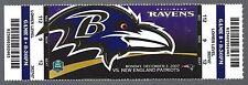 2007 NFL NEW ENGLAND PATRIOTS @ BALTIMORE RAVENS FULL UNUSED FOOTBALL TICKET