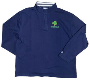 Champion Notre Dame 1/4 Button Pullover Navy Mock Neck Fighting Irish   M,L,XL