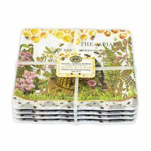 "Set/4 Michel Design Works Melamine 6"" Canape Plates Honey Clover Hive Skep Bees"