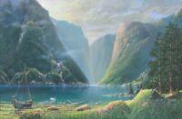Frase Original Seascape Landscape Oil Painting Norway Fjord Viking Hut Boat Art