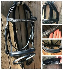 New cob size black leather deluxe padded bridle with soft padded reins