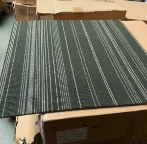 Quality Carpet Tiles 8m2 Box Heavy Duty Hard Wearing Flooring, BLACK,GREY STRIPE