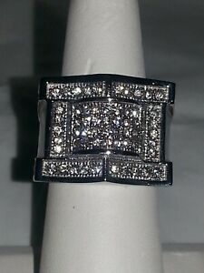 SILVER STAINLESS STEEL CUBIC ZIRCONIA MEN'S RING . SIZE 8