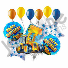 11 pc Construction Loader Balloon Bouquet Decoration Happy Birthday Tractor