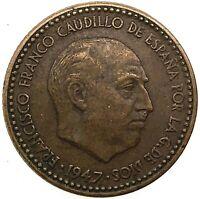 1947 (50)  Spain Francisco Franco 1 Peseta  Aluminium-Bronze  KM # 775  Rare !