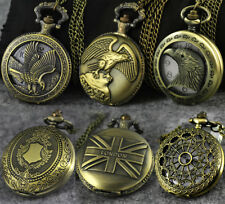 Antique Vintage Retro Bronze Steampunk Quartz Pocket Watch Necklace Pendant Gift