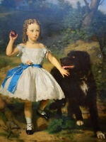 """high quality oil painting handpainted on canvas """"a girl with a dog"""""""