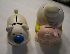 Rare Vintage WWA 1981 Ziggy And His Dog Fuzz Earthenware Coin Bank Set  2 Pieces