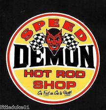 SPEED DEMON HOT ROD SHOP Sticker Decal Car V8 DRAG RACING F1 Surfing Rat Fink