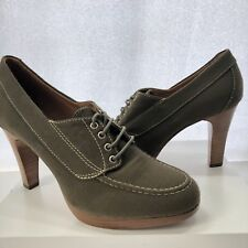 L.L. Bean Heels 9.5 Cursive Logo Oxford Womens Green Brown Linen 4 Inch