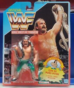 "Jake The Snake Roberts WWF Hasbro Spanish Card NIB Snake "" El Serpiente "" 1991"