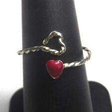 Artisan Delicate Sterling Silver Wire Enamel Heart Wrap Ring Sz 6.5 Adjustable