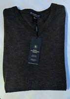 Mens XL Char Gray Heather Fine Merino Wool Pullover Sweater HART SCHAFFNER MARX