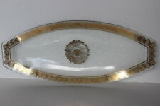 Vintage Georges Briard Clear Aura Glass Long Serving Bowl Gold Regalia Pattern