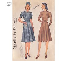 S8686 Simplicity 8686 Sewing Pattern VTG 1940s Simple to Make Dress Sleeve Var