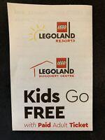 Legoland Resorts Kids Go Free eVoucher expiry 31/12/2023 (valid world-wide)