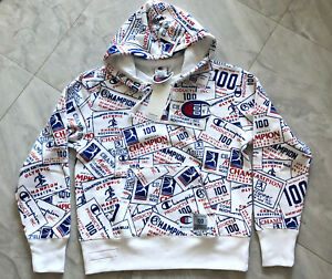 NWT Champion 100 Century All Over Print Pullover Hoodie - Large (White)