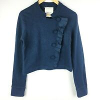 Sparrow Anthropologie Blue Wool Blazer Sweater Jacket Crop Snap Ruffle Medium