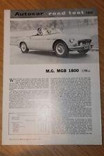 MG MGB 1800 Factory réimprimé Essai Routier dossier octobre 1962