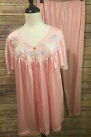 Vintage Vanity Fair Pink Nylon Pajamas Size XL Short Sleeve Button Front Floral