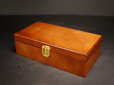 Brown wooden jewellery box with interior mirror ring rolls, Schabby Chic #2