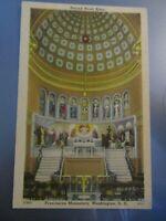 Postcard Sacred Heart Altar Franciscan Monastery Washington DC Linen - 102A