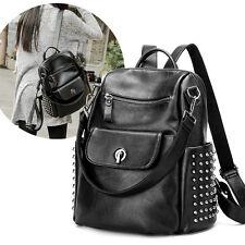 Women's Genuine Leather Rucksack Shoulder BagS Backpacks Punk Rivets Knapsack