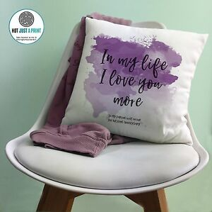 The Beatles in My Life Song Words Cushion Gift 2nd Cotton Anniversary Gift