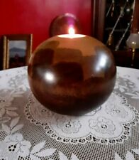 Round, Tactile, Wooden, Tealight, Candle Holder. Handcrafted, Hand Turned Wood.