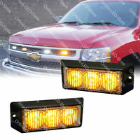 2pc 3W Amber LED Strobe Warning Grille Lights for Cars Trucks Emergency Vehicles