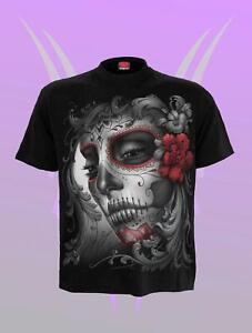 Spiral Skull Roses Black T Shirt Front Print - Biker, Gothic, Rocker Unisex top