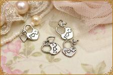 10pezzi lucchetto forma cuore con ciondolino in metallo color argento1,1 x 1,4cm