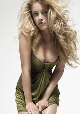 Sexy PHOTO 8.25x11.75 Amber Heard in a green dress studio shot #001