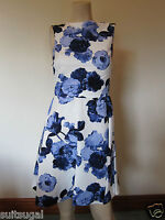 NEW EX RIVER ISLAND BLUE IVORY FLORAL MINI SKATER TEA DRESS SZ 8 10 12 14 16 18