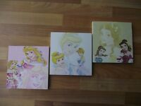 DISNEY PRINCESS CHARACTERS CANVAS WALL ART PLAQUES/PICTURES SET - FREE POSTAGE