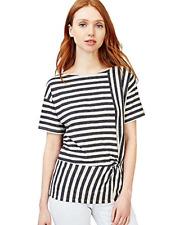 New! Gap women's nautical stripe peplum t-shirt - S - black front knot twist fun