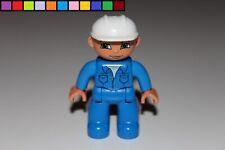 Lego Duplo - Bauarbeiter - weißer Helm - blauer Anzug - Figur - Mann