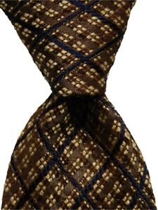 ERMENEGILDO ZEGNA Mens Silk/Wool Necktie ITALY Luxury PLAID Brown/Blue/Ivory EUC