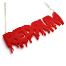 "REDRUM NECKLACE 3.25"" Red Acrylic Pendant Halloween Goth The Shining Inspired"